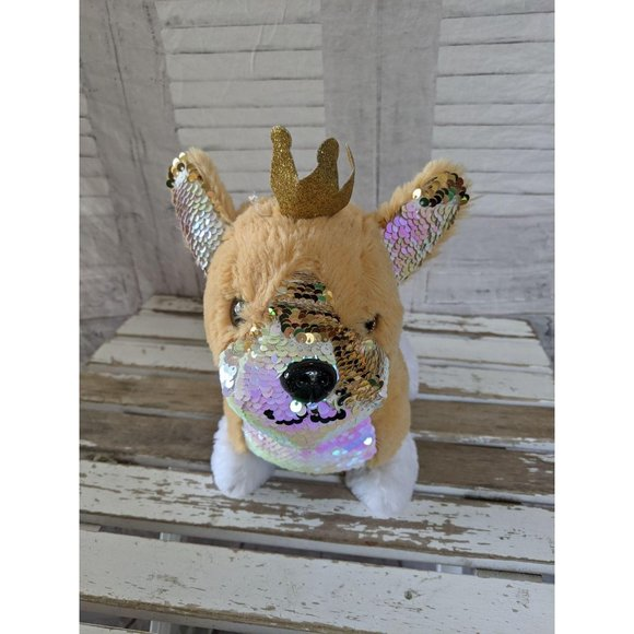 Justice reverse sequin dog plush stuffed toy